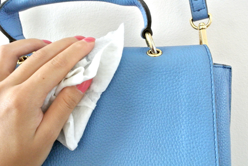 To remove stains on patent leather handbags, dab them with a cheesecloth dipped in white vinegar. (Always spot-treat first to test.)